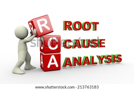 3d Illustration of man placing cubes of rca - root cause analysis. 3d white people man character