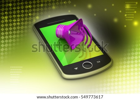 3D illustration of Megaphone with smart phone