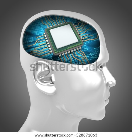 3d illustration of microchip inside man head over gray background