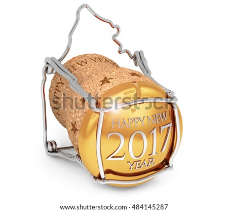 3D illustration of new year's 2017 champagne cork isolated on white