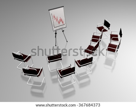 3D illustration of numerous office chairs around a flipchart showing a decreasing curve, refering to a presentation in a business or managerial work environment