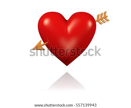 3D illustration of One Big and Red Heart with Golden Arrow with White Background