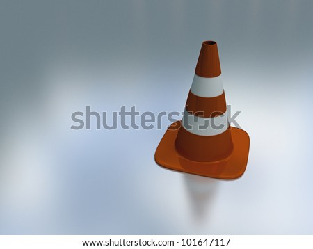 3d illustration of orange and white traffic cone on reflective background