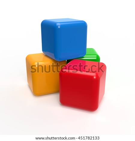 3d illustration of plastic colorful cubes, over white background