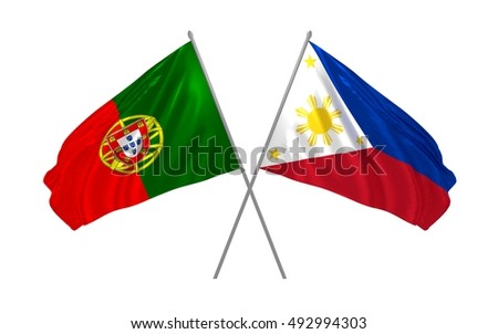 3d illustration of Portugal and Philippines flags waving