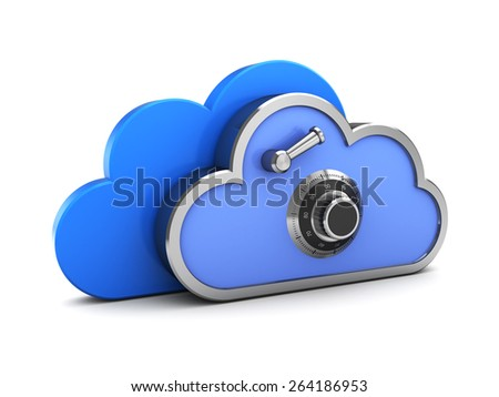 3d illustration of protected cloud storage concept