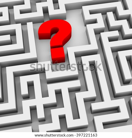 3d illustration of question mark symbol sign in the maze labyrinth