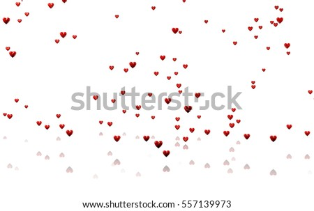 3D illustration of Rain of Many Tiny Red Hearts with a White Background