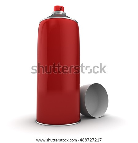 3d illustration of red color spray bottle, over white background