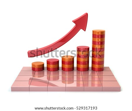 3d illustration of red growing business graph isolated on white background