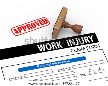 3d illustration of rubber stamp and approve work injury claim form