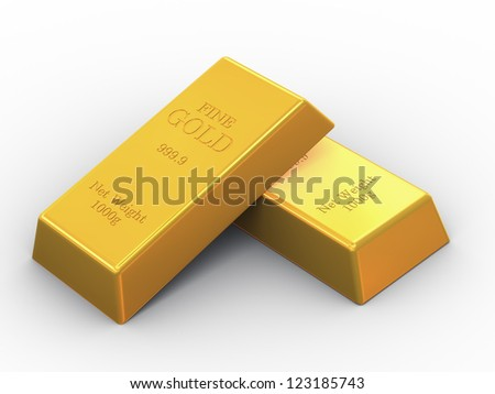 3d illustration of set OF fine gold bars
