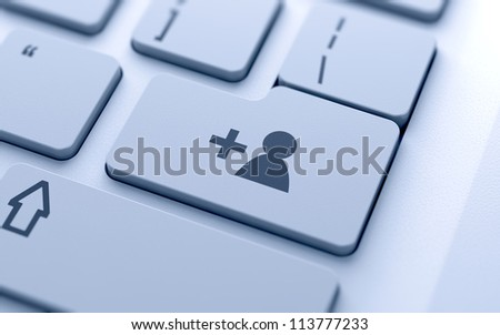 3d illustration of social network concept sign button on keyboard with soft focus