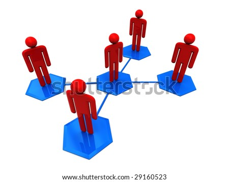 3d illustration of social network symbol over white background