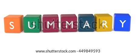 3d illustration of SUMMARY word from colored cubes