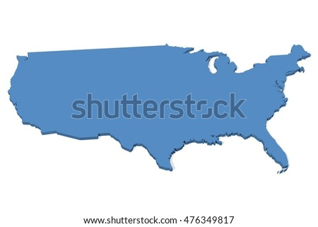 Blue Map United States Usa Stock Vector Shutterstock - Plain usa map