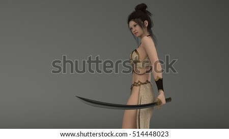 3d illustration of the warrior japan woman