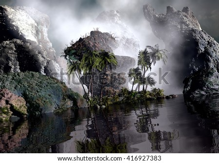 3D Illustration of tropical island in the middle of large rocks in a very cloudy atmosphere