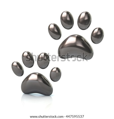 3d illustration of two cat's silver paws  isolated on white background