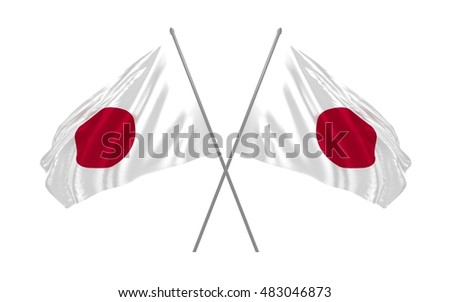 3d illustration of two crossed Japan  flags waving