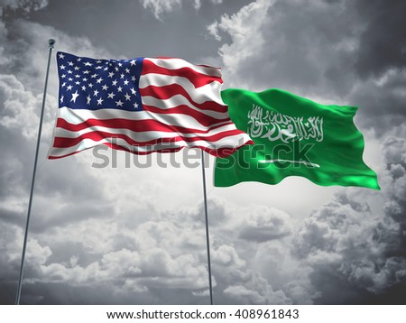 3D illustration of United States of America & Saudi Arabia Flags are waving in the sky with dark clouds