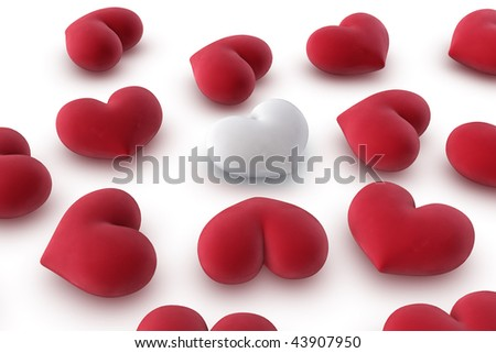 3d illustration/rendering of one white heart among several red hearts, close-up