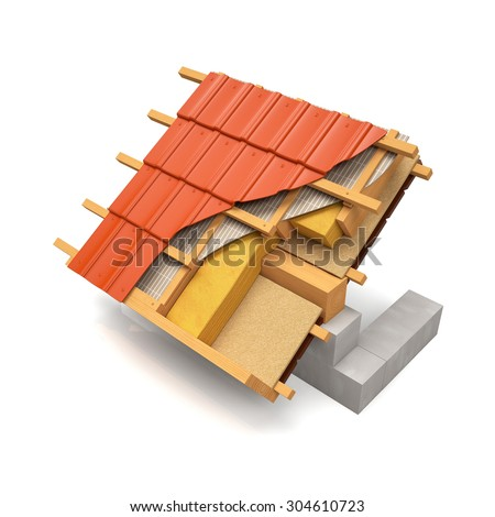 3d illustration. The section of the roof structure with metal tiles