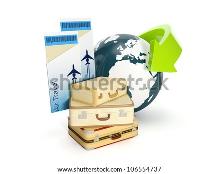 3d illustration: Travel holiday. The suitcase and the earth with a plane ticket on a white background
