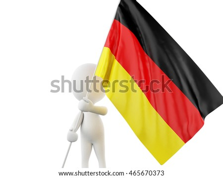 3d illustration. White people with Germany flag. Sport concept. Isolated white background.