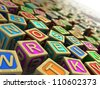 3d illustration: wooden cubes with letters and numbers - stock vector