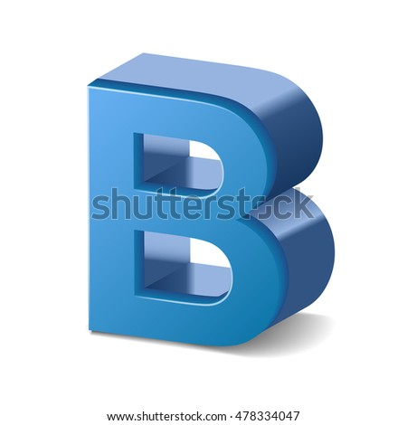 3D image blue letter B isolated on white background