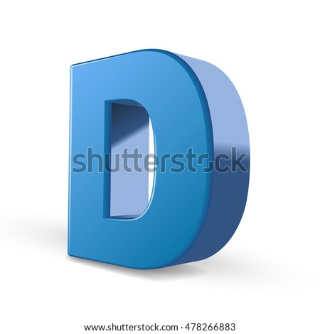 3D image blue letter D isolated on white background