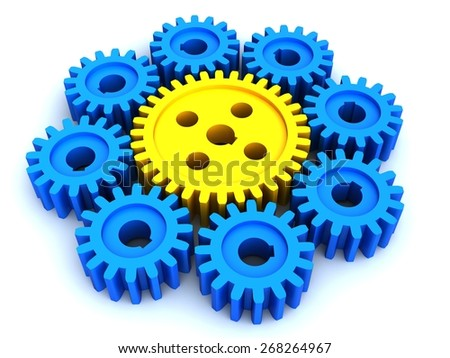3d image. Gears from yellow and blue plastic.