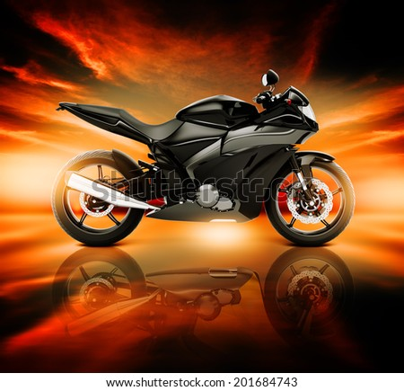 3D Image Of Motorcycle With Skyline Horizon