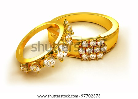 3d image of pair of golden ring with diamond for engagement