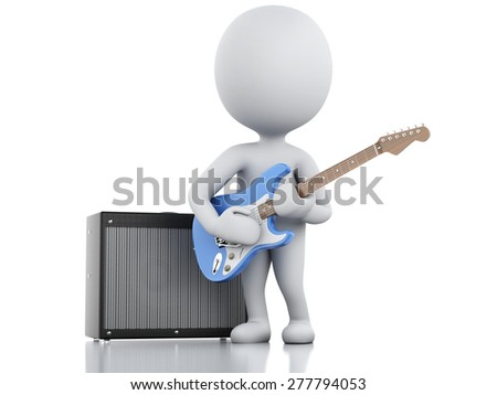 3d image. White people playing electric guitar with Amplifier. Isolated white background