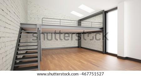 3d interior rendering industrial mezzanine space stock for Wood mezzanine construction plan