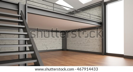 3d interior rendering industrial Mezzanine space and wood floor and Loft design