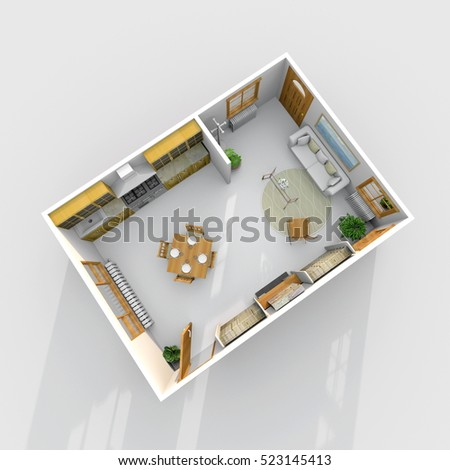 3d interior rendering of brown wooden furnished kitchen and living room apartment