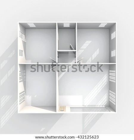 Empty Apartment Bathroom 3d interior rendering empty paper model stock illustration