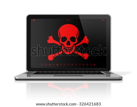 3D Laptop with a pirate symbol on screen. Hacker concept