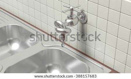 3D leaky water tap tied knot on wall with tiles and sink