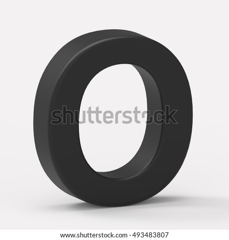 3d left leaning black letter O, 3D rendering graphic isolated white background