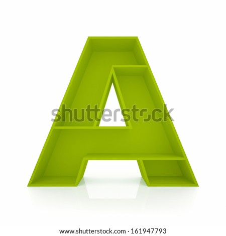 3d letter A from furniture alphabet collection isolated on white