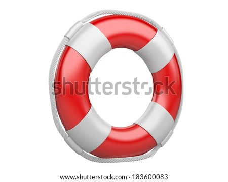 3d life buoy isolated on a white background