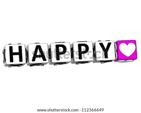 3D Love Happy Button Click Here Block Text over white background