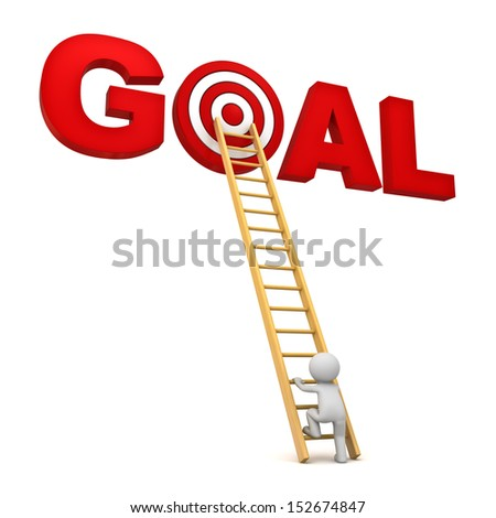 3d man climbing ladder to the red target in word goal isolated over white background, Business concept