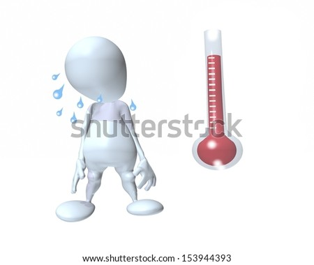 3d man feeling hot next to a rising thermometer
