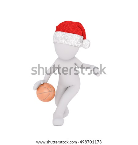 3d man in a Santa hat playing basketball running along bouncing the ball, rendered illustration on white