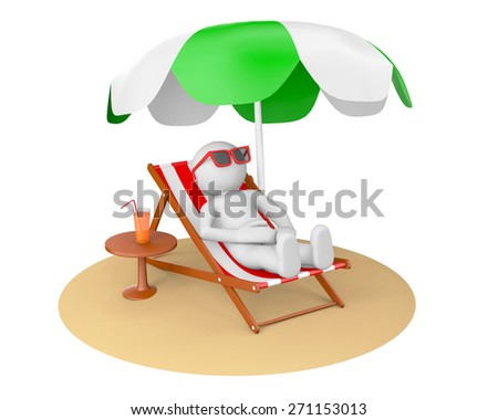 3D man on the beach under sun umbrella